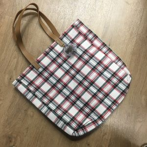Plaid flannel tote bag